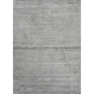 Hand-loomed Solid-pattern Wool/ Art Blue Silk Rug (2' x 3')