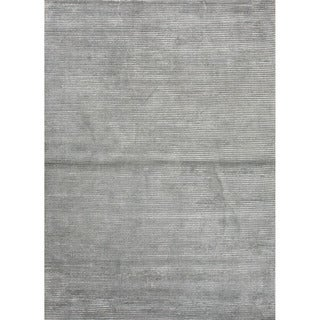 """Phase Handmade Solid Gray/ Silver Area Rug (3'6"""" X 5'6"""")"""