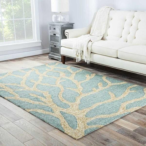 Havenside Home Nantucket Indoor/ Outdoor Abstract Teal/ Tan Area Rug - 7'6 x 9'6