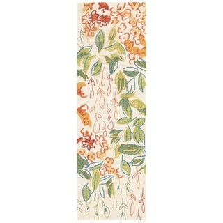 Hand-hooked Indoor/ Outdoor Floral Pattern Multi Rug (2'6 x 8')