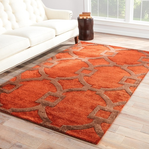 Bronx Handmade Trellis Red Brown Area Rug 2 X 3