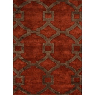 Hand-tufted Contemporary Geometric Red/ Orange Circle Accent Area Rug (3'6 x 5'6)