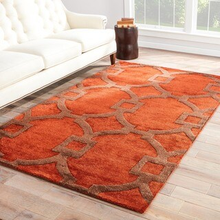 Hand-tufted Contemporary Geometric Red/ Orange Rug with Plush Pile (5' x 8')