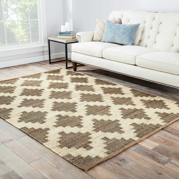 Handmade Flat Weave Moroccan Pattern Brown Rug (5' X 8