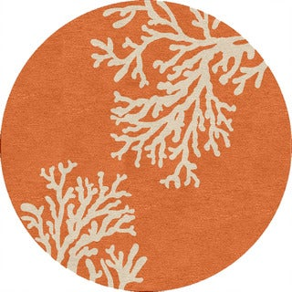 Hand-hooked Indoor/ Outdoor Abstract Pattern Red/ Orange Rug (8' Round)