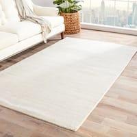 Minke Handmade Solid White/ Beige Area Rug (5' X 8') - 5'x8'