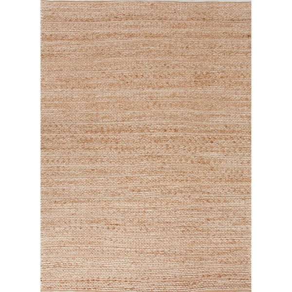 "Trainor Natural Solid Tan/ White Area Rug (3'6"" X 5'6"") - 3'6 x 5'6"