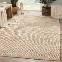 Travers Natural Solid Beige/ White Area Rug (5' x 8') - 5' x 8'