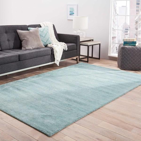 Shop Minke Handmade Solid Aqua/ Teal Area Rug (5' X 8