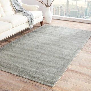 Hand-loomed Solid Pattern Gray/ Black Rug with 0.3-Inch Pile (8' x 10')