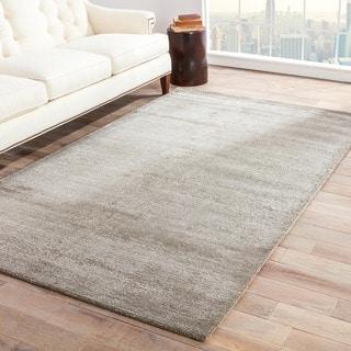 Hand-loomed Solid Pattern Gray/ Black Wool/ Art Silk Rug (8' x 10')