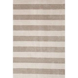 Hand-loomed Transitional Stripe Pattern Gray/ Black Rug (2' x 3')