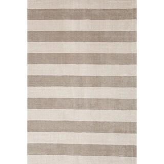 Hand-loomed Transitional Stripe Pattern Gray/ Black Rug (8' x 10')