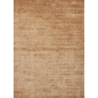 Hand-loomed Solid-pattern Brown Rayon from Bamboo-silk Rug (2' x 3')