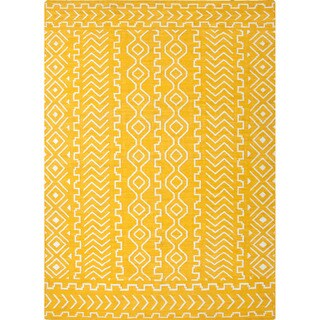 Handmade Flat-weave Yellow Tribal-pattern Area Rug (3'6 x 5'6)