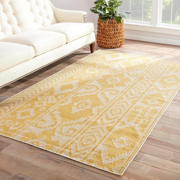 Safi Handmade Ikat Yellow/ Cream Area Rug (5' X 8') - 5' x 8'