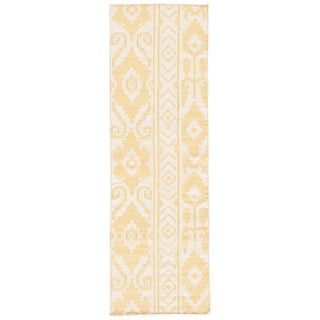 "Safi Handmade Ikat Yellow/ Cream Area Rug (2'6"" X 8')"