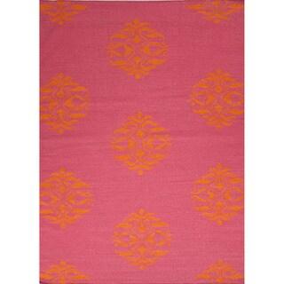 Handmade Flat Weave Moroccan Pattern Canterbury/ Orange Rug (8' x 10')