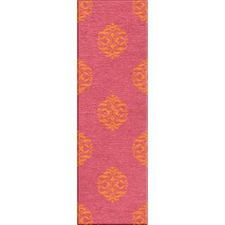 Handmade Flat Weave Moroccan Pattern Canterbur/ Orange Rug (2'6 x 8')