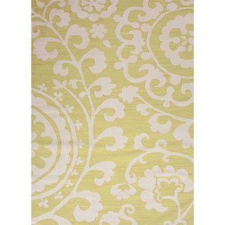 Handmade Flat Weave Floral Pattern Green Rug (3'6 x 5'6)