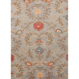 Durable Hand-tufted Transitional Floral-pattern Blue Rug (5' x 8')