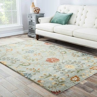 Fiona Handmade Floral Light Green/ Multicolor Area Rug (5' X 8')