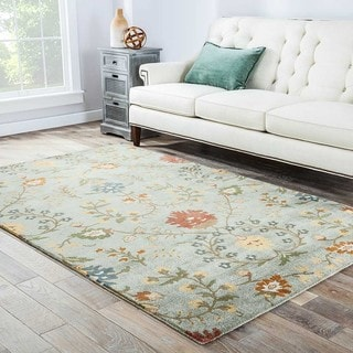 Hand-tufted Transitional Floral-pattern Blue Area Rug (8' x 11')