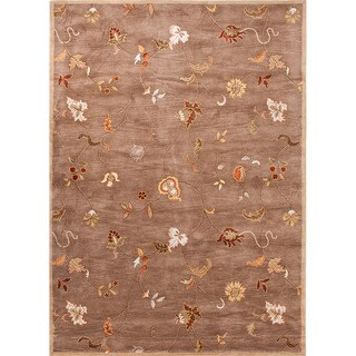 Hand-tufted Transitional Floral Pattern Brown Wool Rug (2' x 3')