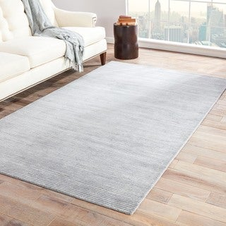 Hand-loomed Solid-pattern Blue Area Rug (8' x 10')