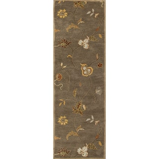 Hand-tufted Transitional Floral Pattern Brown Rug (2'6 x 8')