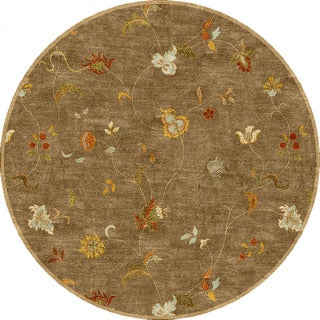 Yves Handmade Floral Taupe/ Multicolor Area Rug (8' X 8')