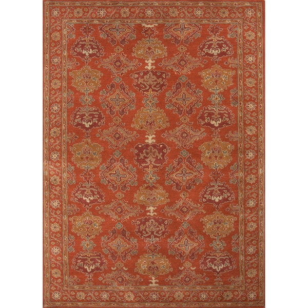 Hand-tufted Traditional Floral Pattern Red/ Orange Rug (8' x 11')