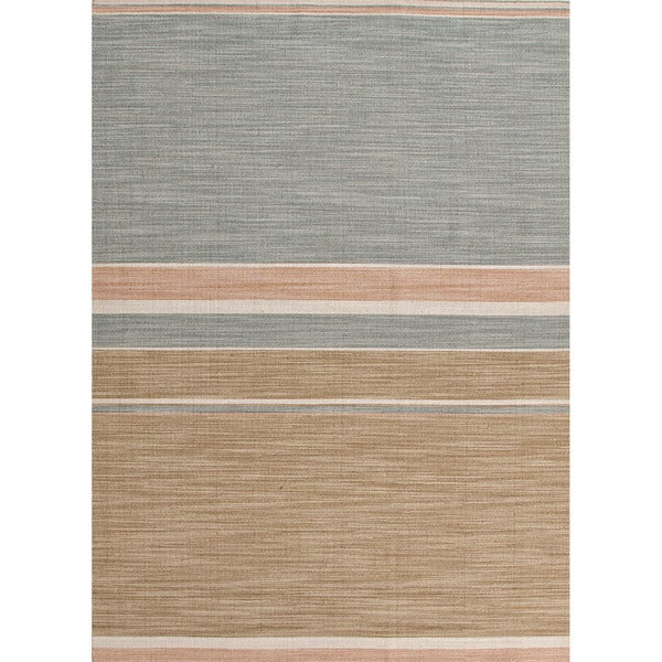Green Flat Weave Rug: Shop Handmade Flat-weave Stripe-pattern Green Area Rug (8