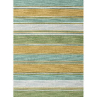 Naxos Handmade Stripe Aqua/ Green Area Rug (2' X 3')