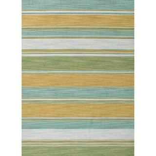Naxos Handmade Stripe Aqua/ Green Area Rug (4' X 6')