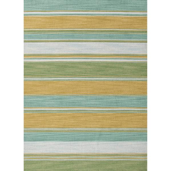 Shop Naxos Handmade Stripe Aqua/ Green Area Rug