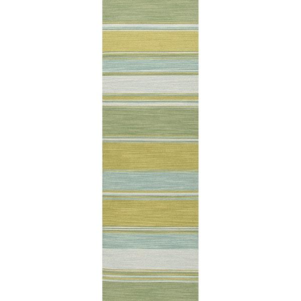 "Naxos Handmade Stripe Aqua/ Green Area Rug (2'6"" X 8"