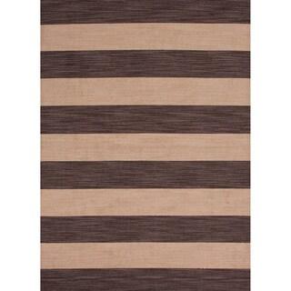 Handmade Flat Weave Stripe Pattern Brown Rug (8' x 10')