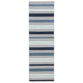 """Lancaster Handmade Stripe Blue/ White Area Rug (2'6"""" X 8')"""