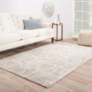 "Savoy Handmade Trellis Gray/ White Area Rug - 7'10"" x 10'10"""