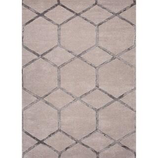 Hand-tufted Contemporary Geometric Gray/ Black Area Rug (3'6 x 5'6)