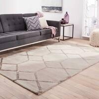 """Sacramento Handmade Trellis Silver/ Gray Area Rug (3'6"""" X 5'6"""") - 3'6 x 5'6"""