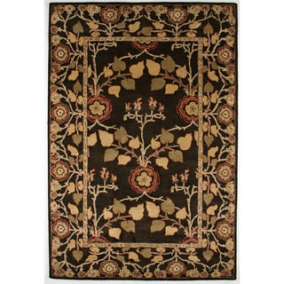 Hand-tufted Transitional Oriental Pattern Gray/ Black Rug (2' x 3')