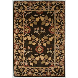 Hand-tufted Transitional Gray/ Black Oriental-pattern Area Rug (5' x 8')
