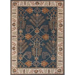 Hand-tufted Transitional arts/ Crafts Pattern Blue Rug (2' x 3')
