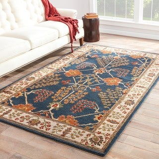 Hand-tufted Transitional arts/ Crafts Pattern Blue Rug (5' x 8')