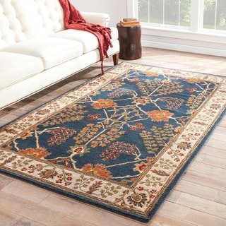 Chantilly Handmade Floral Blue/ Multicolor Area Rug (5' X 8')