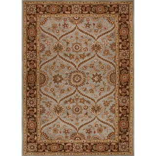 Hand-tufted Traditional Oriental-pattern Brown Hand-spun Wool Rug (2' x 3')