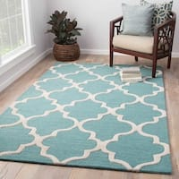 "Portland Handmade Trellis Light Blue/ White Area Rug (3'6"" X 5'6"") - 3'6 x 5'6"
