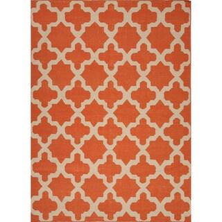 Handmade Flat Weave Geometric Pattern Red/ Orange Rug (2' x 3')